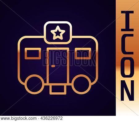 Gold Line Machine Trailer Dressing Room For Actors Icon Isolated On Black Background. Movie Crew Res