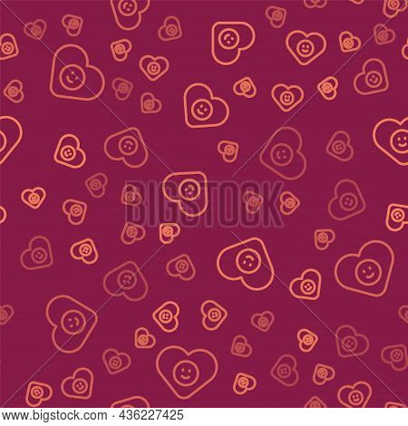 Brown Line Good Relationship Icon Isolated Seamless Pattern On Red Background. Romantic Relationship