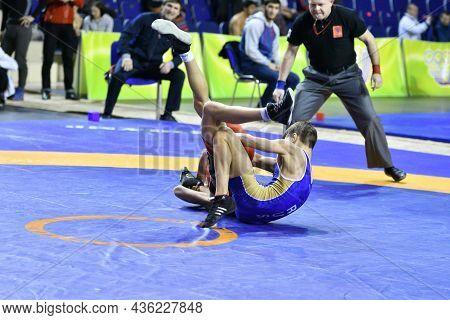 Orenburg, Russia - March 15-16, 2017: Boy Compete In Sports Wrestling