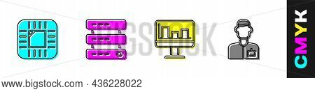 Set Processor With Cpu, Server, Data, Web Hosting, Monitor Graph Chart And Analyst Engineer Icon. Ve