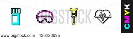 Set Medicine Bottle And Pills, Eye Sleep Mask, Crutch Or Crutches And Heart Rate Icon. Vector
