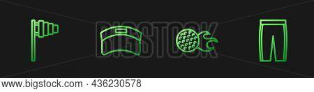 Set Line Golf Ball, Flag, Sun Visor Cap And Pants. Gradient Color Icons. Vector