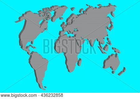 World Map. Grey Silhouette. Turquoise Background. Geographic Atlas. Realistic Style. Vector Illustra