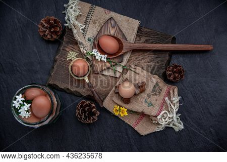 Fresh Farm Eggs On Beautiful Wooden Background, Nutrition Concept, Selective Focus, Top View.