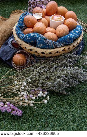 Hen / Fresh Chicken Eggs On Basket. Nutrition Concept, Copy Space, Selective Focus.