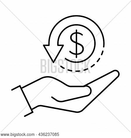 Cashback Icon Vector Return Money, Cash Back Rebate Hand And Coin Sign For Graphic Design, Logo, Web