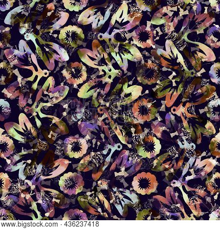 Exotic Multicoloured Boho Floral Camouflage Scatter Print. Seamless Autumnal Dark Ground Detailed Re