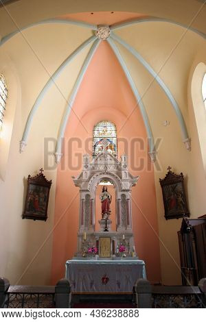 BOSILJEVO, CROATIA - JULY 15, 2012: Sacred Heart of Jesus, altar in the Church of St. Maurus the Abbot in Bosiljevo, Croatia