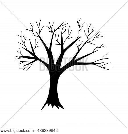Tree Hand Drawn Doodle. Vector, Scandinavian, Nordic, Minimalism Monochrome Icon Sticker