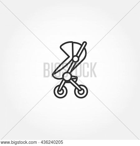 Baby Carriage Line Icon On White Background