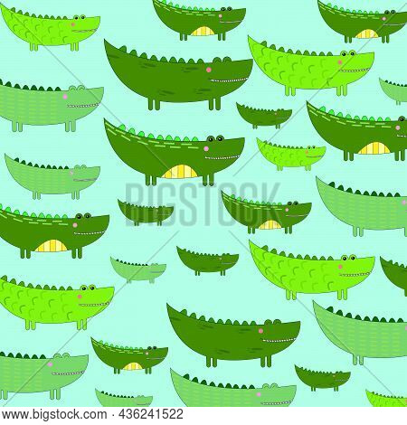 Crocodiles Pattern On A Beige Background. Cute Animals