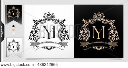 Illustration Of A Crown, Ym Or My Initial Letter With Crown And Ornament Illustration, Graphic Name
