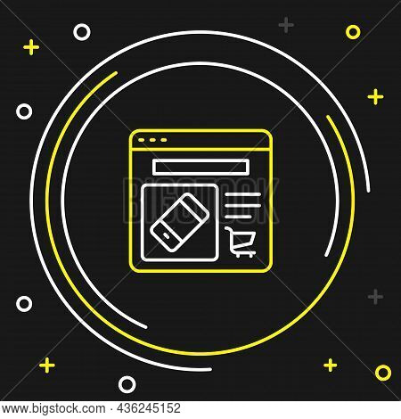 Line Online Shopping On Screen Icon Isolated On Black Background. Concept E-commerce, E-business, On