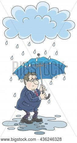 Unlucky Sad Man With An Umbrella Standing In A Puddle Under A Rain Cloud On A Day For Failure, Vecto