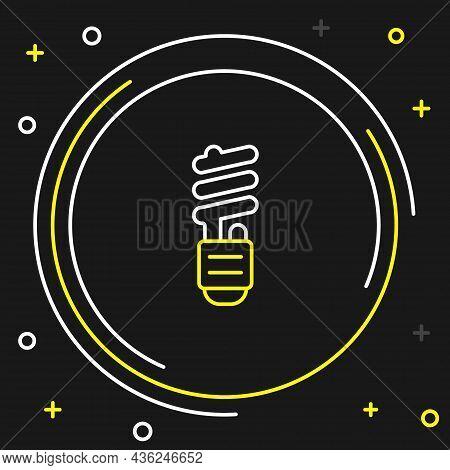 Line Led Light Bulb Icon Isolated On Black Background. Economical Led Illuminated Lightbulb. Save En