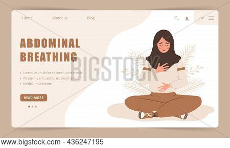 Diaphragmatic Breathing. Landing Page Template. Arab Girl Practicing Abdominal Breathing For Good Re