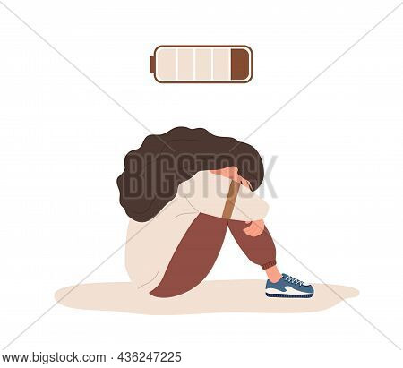 Burnout Concept. Tired Woman With Low Battery Sitting On Floor And Crying. Mental Health Problem. De