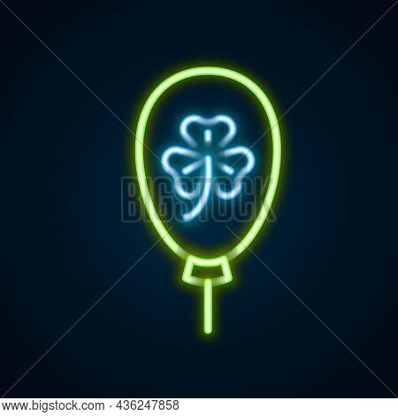 Glowing Neon Line Balloon With Clover Trefoil Leaf Icon Isolated On Black Background. Happy Saint Pa