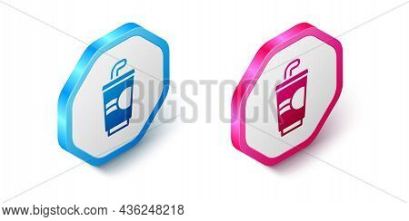 Isometric Paper Glass With Drinking Straw And Water Icon Isolated On White Background. Soda Drink Gl