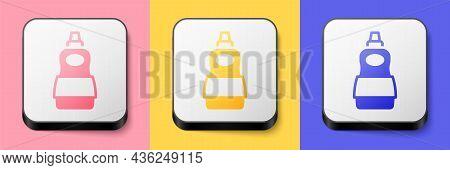 Isometric Dishwashing Liquid Bottle Icon Isolated On Pink, Yellow And Blue Background. Liquid Deterg