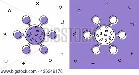 Set Bacteria Icon Isolated On White And Purple Background. Bacteria And Germs, Microorganism Disease