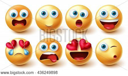 Emoji Characters Vector Set. Emoticon Characters With Cute, Funny And Happy Facial Expressions In Ye