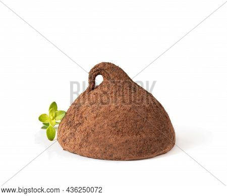 Homemade  Chocolate Truffle With Cocoa Powder Isolated On White
