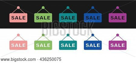 Set Hanging Sign With Text Sale Icon Isolated On Black And White Background. Signboard With Text Sal