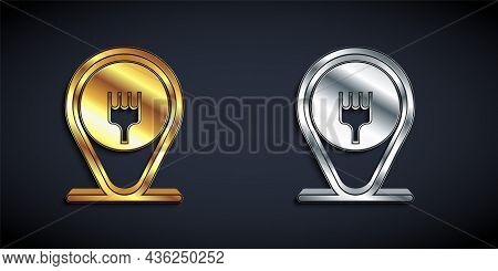 Gold And Silver Cafe And Restaurant Location Icon Isolated On Black Background. Fork Eatery Sign Ins