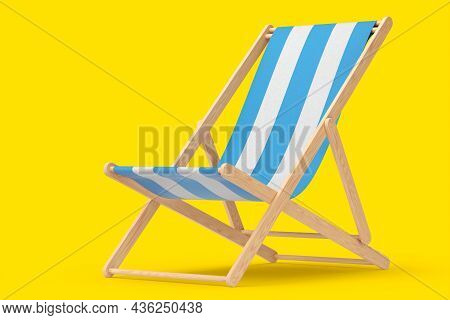 Blue Striped Beach Chair For Summer Getaways Isolated On Yellow Background.