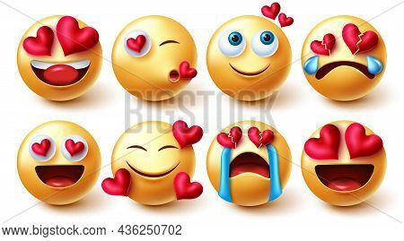 Emoji Valentines In Love Vector Set. Emoticons Characters In Yellow Faces With Hearts Element In Lov
