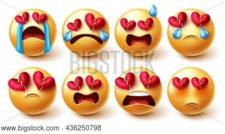 Emojis Broken Hearted Vector Set. Emoji Characters In Sad, Crying And Broken Hearts Yellow Faces Rea