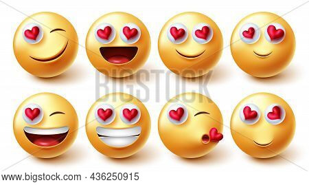 Emojis Valentines Characters Vector Set. Emoji Character In 3d Graphic Design With Inlove And Happy