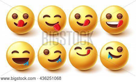 Emojis Yummy Face Character Vector Set. Emoji 3d In Licking And Mouth Watering For Hungry, Delicious