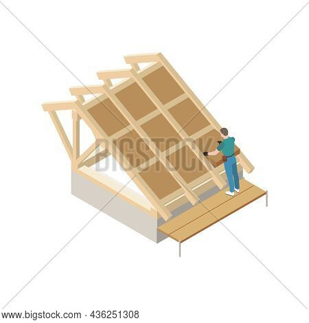 Roofing Isometric Icon With Worker Putting Thermal Insulation On Roof Vector Illustration