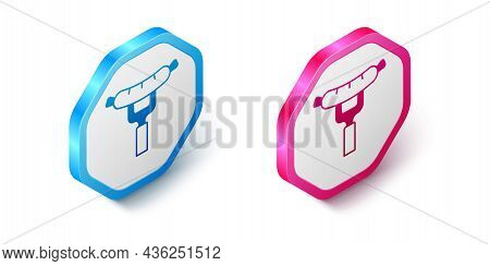 Isometric Sausage On The Fork Icon Isolated On White Background. Grilled Sausage And Aroma Sign. Hex