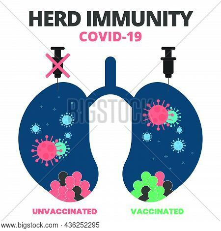 Abstract Infographic. Syringe, Group Of Vaccinated, Unvaccinated People In Lung And Herd Immunity Co