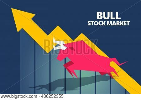 Bull Or Bullish Run Icon With Growth Arrow Graph And Bars. Concepts For Share Market Of Bull And Bea