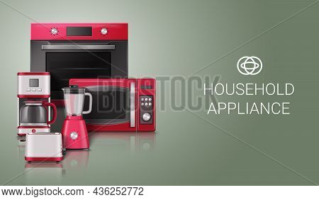 Luxury Beautiful Durable Household Kitchen Appliances Realistic Composition With Stove Microwave Ove