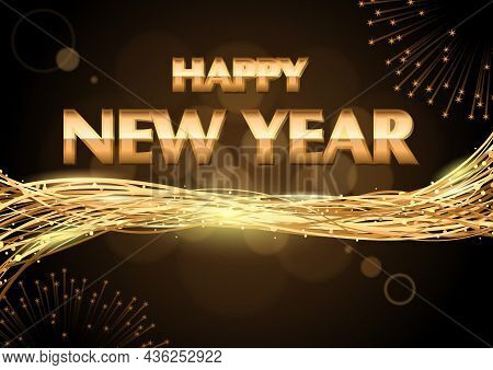 Happy New Year Greeting Card As Background With Bokeh Effect And Golden Entwined Lines With Glitteri
