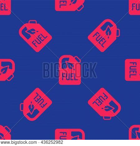 Red Bio Fuel Canister Icon Isolated Seamless Pattern On Blue Background. Eco Bio And Barrel. Green E