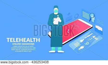 Online Medical. Mobile Phone With  Telemedicine Application. Diagnostic And Consultation With The Te