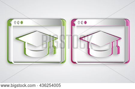 Paper Cut Online Education And Graduation Icon Isolated On Grey Background. Online Teacher On Monito