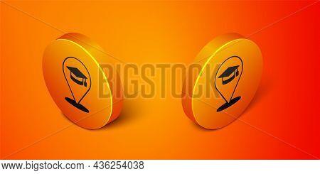 Isometric Online Education And Graduation Icon Isolated On Orange Background. Online Teacher On Moni