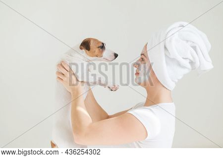 A Woman With A Towel On Her Hair And A Clay Mask Is Holding A Dog. Jack Russell Terrier Licks The Ma