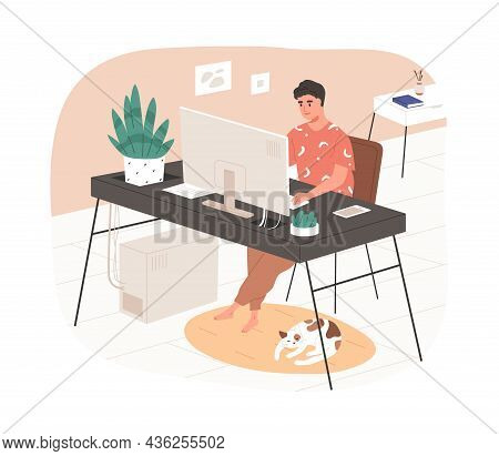 Remote Online Work From Home Office. Man Freelancer Working At Modern Cozy Workplace With Desk And C