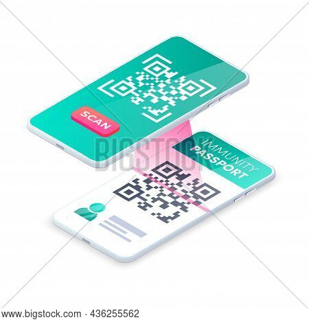 Smartphone Scan Immunity Passport Qr Code. 3d Mobile Scanning Barcode Concept, Covid-19 Digital Heal