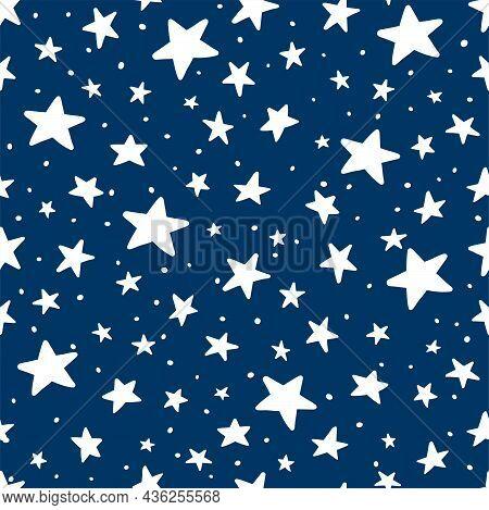 Vector Doodle Star Blue Seamless Pattern. Cute Kid Hand Drawn Stars Print On Dark Blue Background. N