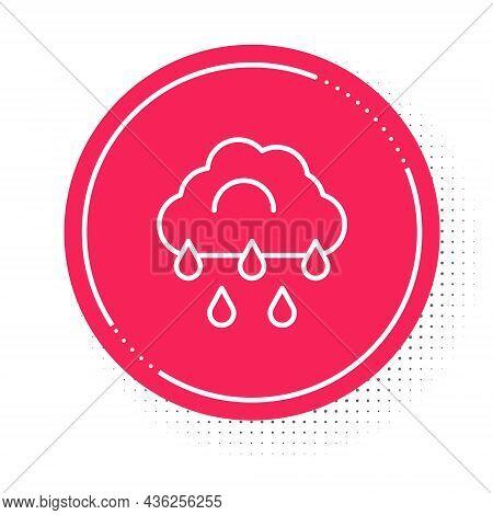 White Line Cloud With Rain Icon Isolated On White Background. Rain Cloud Precipitation With Rain Dro