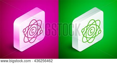 Isometric Line Atom Icon Isolated On Pink And Green Background. Symbol Of Science, Education, Nuclea